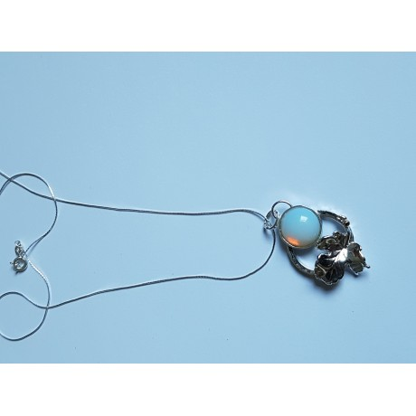 Pendant made entirely by hand in Ag925 silver and opal Ophelia, Bijuterii de argint lucrate manual, handmade