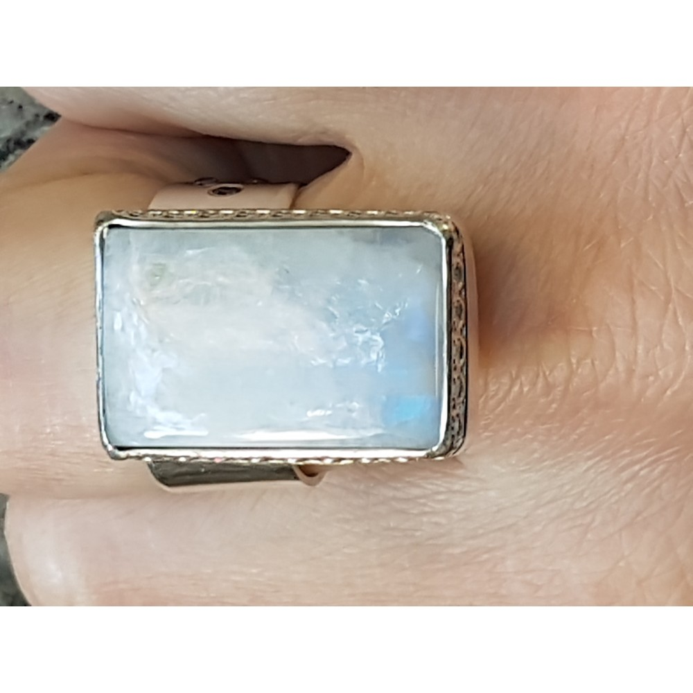 Sterling silver ring with natural moonstone