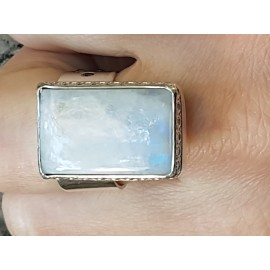 Sterling silver ring with natural moonstone, Bijuterii de argint lucrate manual, handmade