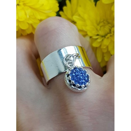 Sterling silver ring and crystal, Bijuterii de argint lucrate manual, handmade