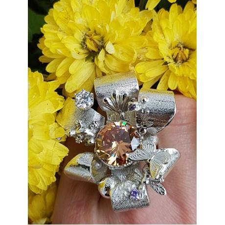 Sterling Silver ring and citrines Sibaritique One, Bijuterii de argint lucrate manual, handmade