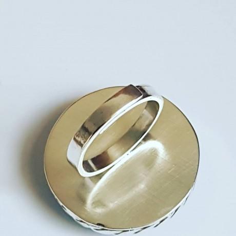 Sterling silver ring with natural chalcedony, Bijuterii de argint lucrate manual, handmade