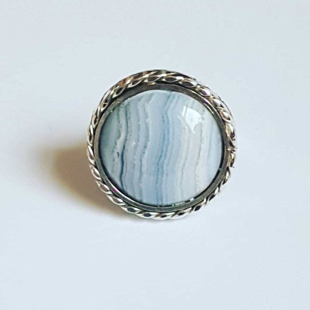 Sterling silver ring with natural chalcedony