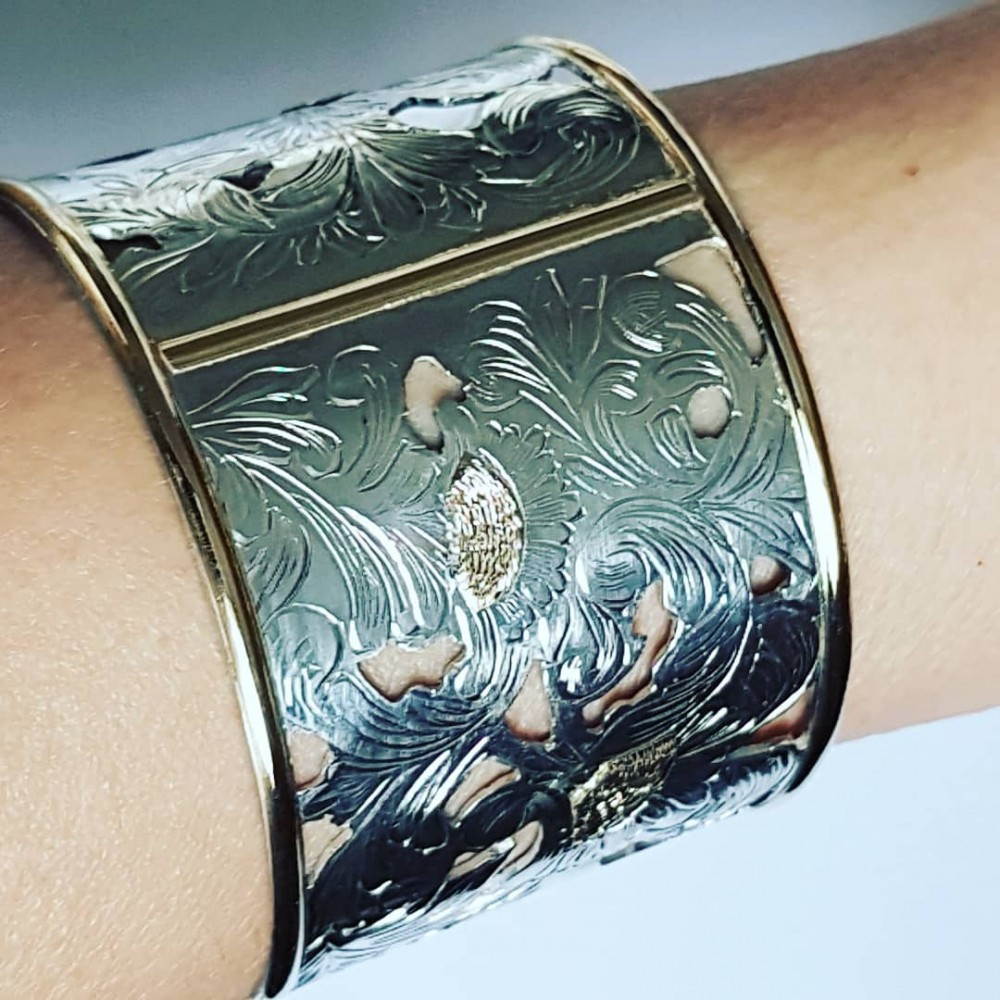 Gold and Sterling silver hand engraved cuff EmpireEmotion
