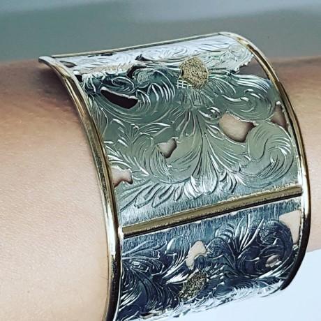 Gold and Sterling silver hand engraved cuff EmpireEmotion , Bijuterii de argint lucrate manual, handmade