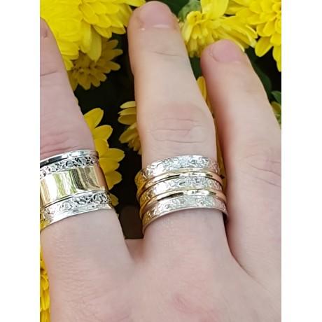 Gold and Sterling silver engagement ring Bond Eternal, Bijuterii de argint lucrate manual, handmade