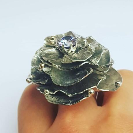 Large Sterling silver ring and amethyst, Bijuterii de argint lucrate manual, handmade
