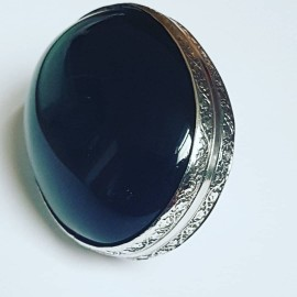 Sterling silver ring with natural Obsidian
