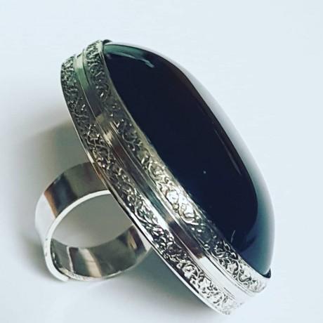 Sterling silver ring with natural Obsidian, Bijuterii de argint lucrate manual, handmade