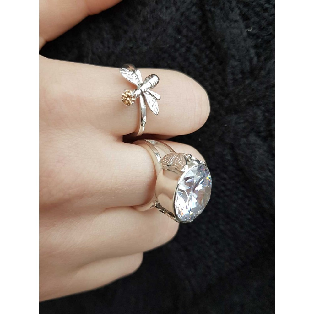 Sterling silver ring Gone with the Rain