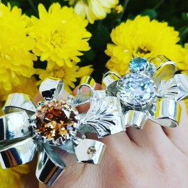 Large Sterling Silver ring and citrines Tempests and Suns