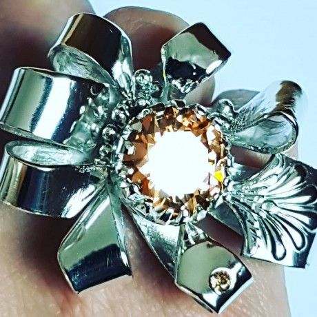 Large Sterling Silver ring and citrines Tempests and Suns, Bijuterii de argint lucrate manual, handmade