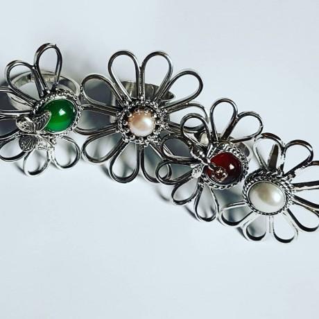 Sterling silver ring with natural carnelian GoRed, Bijuterii de argint lucrate manual, handmade