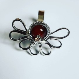 Sterling silver ring with natural carnelian GoRed, Bijuterii de argint lucrate manual, handmade