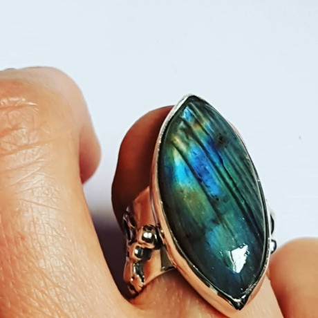 Sterling silver ring with natural labradorite stone  fte 109a1a, Bijuterii de argint lucrate manual, handmade