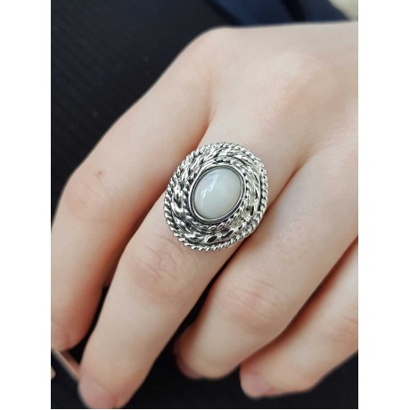 Sterling silver ring with natural OpalCake, Bijuterii de argint lucrate manual, handmade