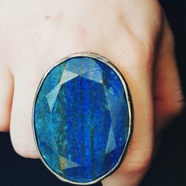 Large Sterling silver ring with natural lapislazuli Blue Honey