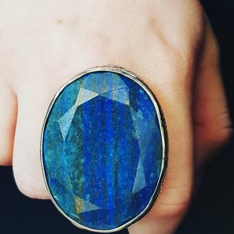 Large Sterling silver ring with natural lapislazuli Blue Honey, Bijuterii de argint lucrate manual, handmade