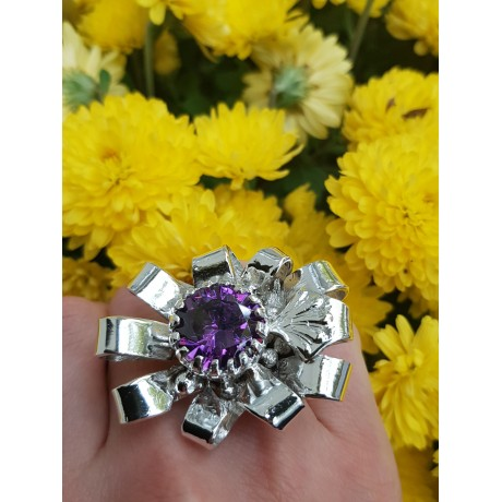 Large Sterling silver ring and amethyst , Bijuterii de argint lucrate manual, handmade