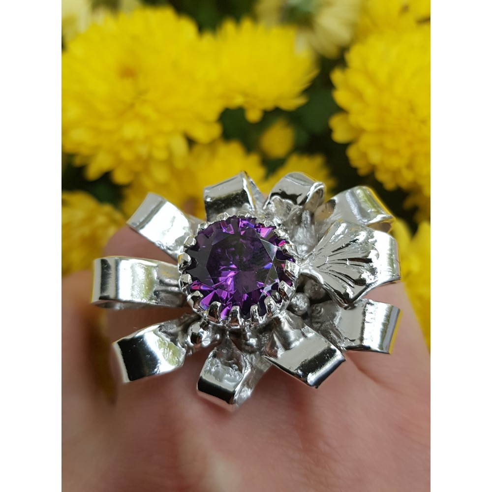 Large Sterling silver ring and amethyst