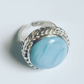 Sterling silver ring with natural blue opal