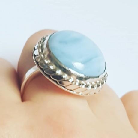 Sterling silver ring with natural blue opal, Bijuterii de argint lucrate manual, handmade