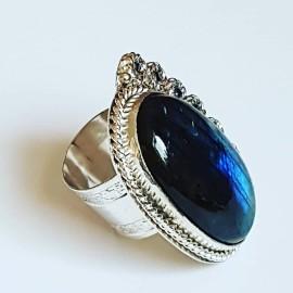 Sterling silver ring with natural labradorite, Bijuterii de argint lucrate manual, handmade