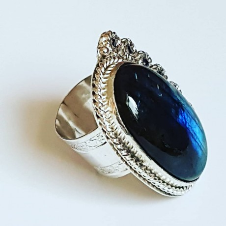 Sterling silver ring with natural labradorite, Bijuterii de argint lucrate manual, handmade