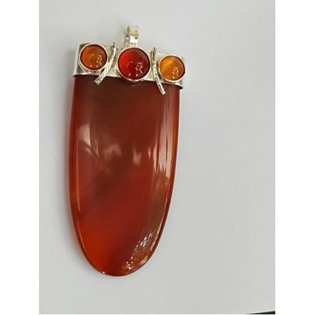 Sterling Silver pendant and carnelian RedCarpet Flare, Bijuterii de argint lucrate manual, handmade