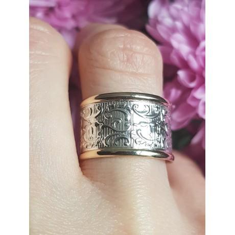 Sterling silver and gold wedding band , Bijuterii de argint lucrate manual, handmade