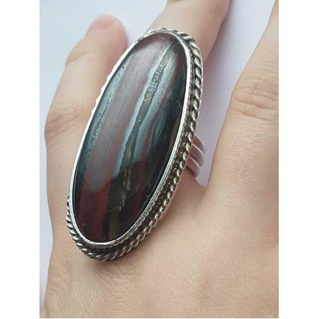 Sterling silver ring with natural iron tiger, Bijuterii de argint lucrate manual, handmade