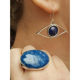 Sterling silver earrings and lapislazuli, Bijuterii de argint lucrate manual, handmade