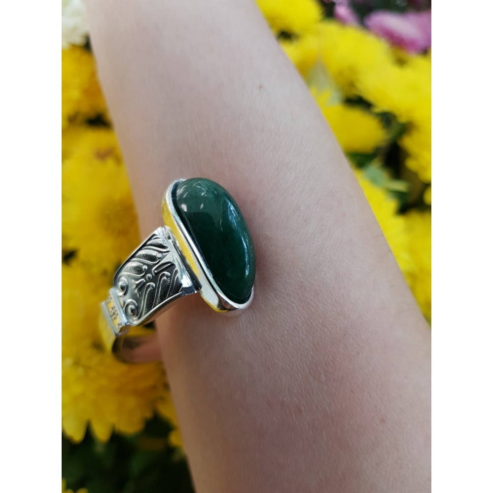 Sterling silver ring with natural aventurine and citrines TropicalGreens