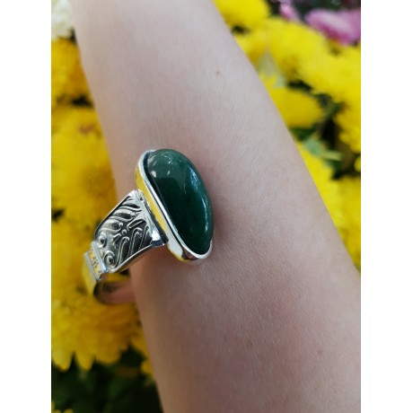 Sterling silver ring with natural aventurine and citrines TropicalGreens, Bijuterii de argint lucrate manual, handmade