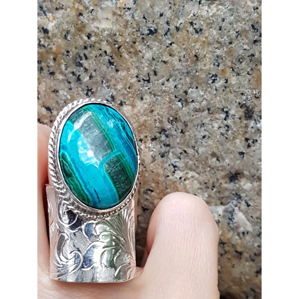 Sterling silver ring and cuprite crysocola