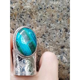 Sterling silver ring and cuprite crysocola, Bijuterii de argint lucrate manual, handmade