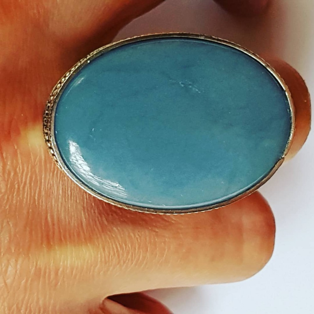 Large Sterling silver ring and natural Blue Opal