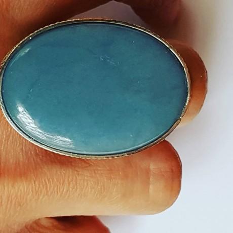 Large Sterling silver ring and natural Blue Opal, Bijuterii de argint lucrate manual, handmade
