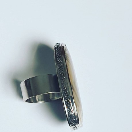 Large Sterling silver ring with natural Flintstone Earthiness vs Swerviness, Bijuterii de argint lucrate manual, handmade