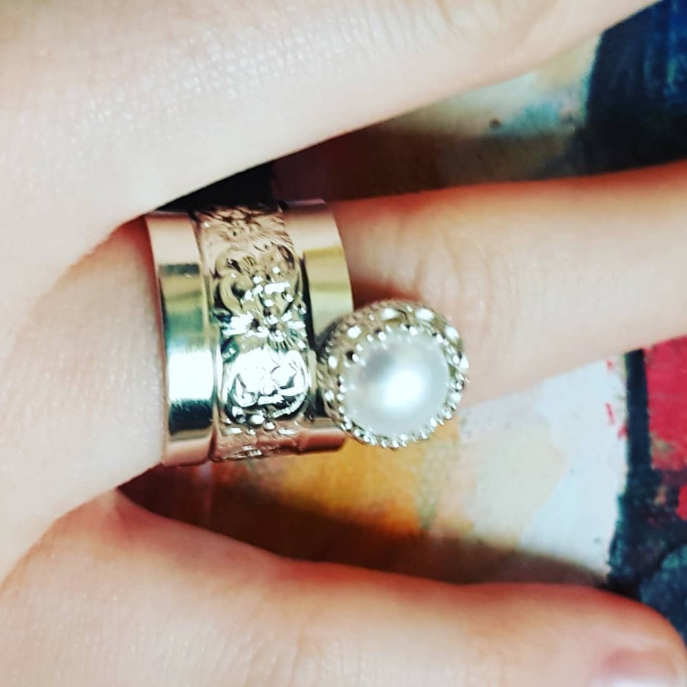 Sterling White silver engagement ring and cultured pearl one