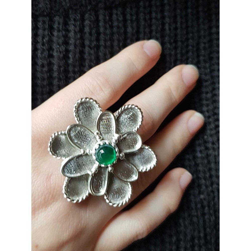 Sterling silver ring and agate GreenFlower