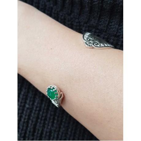 Sterling silver ring and agate GreenFlower, Bijuterii de argint lucrate manual, handmade