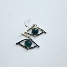Sterling silver earrings and agates, Bijuterii de argint lucrate manual, handmade