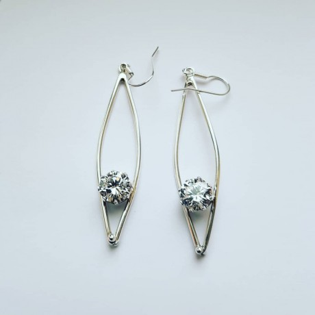 Sterling silver earrings and zirconia fte 490aa 1, Bijuterii de argint lucrate manual, handmade