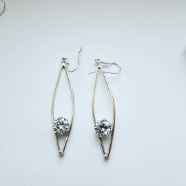 Sterling silver earrings and zirconia fte 490aa 1