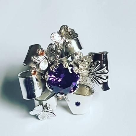 Large Sterling Silver ring,  citrines and amethyst , Bijuterii de argint lucrate manual, handmade