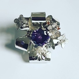 Large Sterling Silver ring,  citrines and amethyst