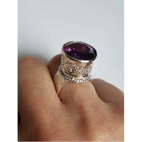 Sterling silver ring and amethyst PurpleWatch, Bijuterii de argint lucrate manual, handmade
