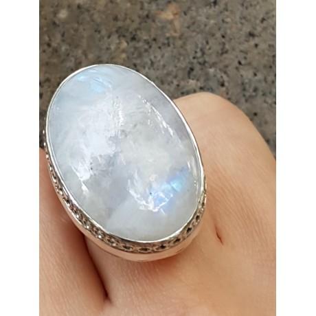 Sterling silver ring with natural moonstone , Bijuterii de argint lucrate manual, handmade