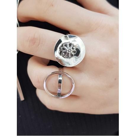Sterling silver ring sun flower, Bijuterii de argint lucrate manual, handmade